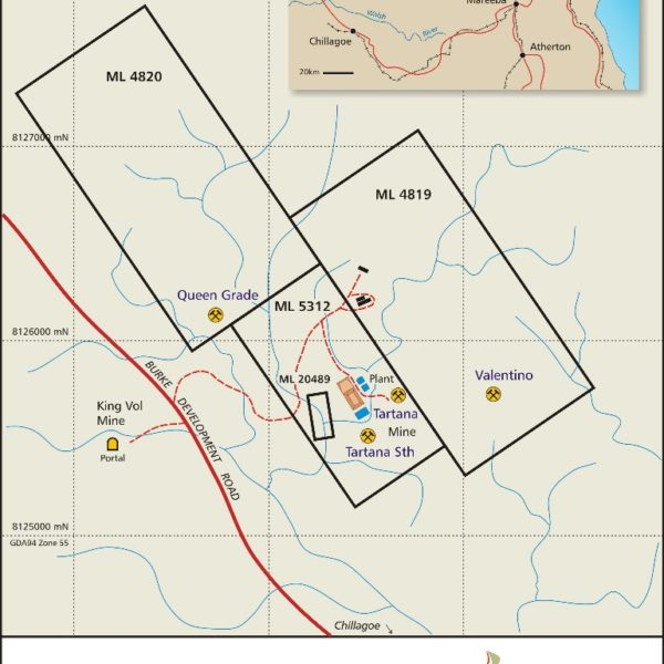 Location Map Of The Four Mining Leases Which Represent The Tartana Copper and Zinc Project